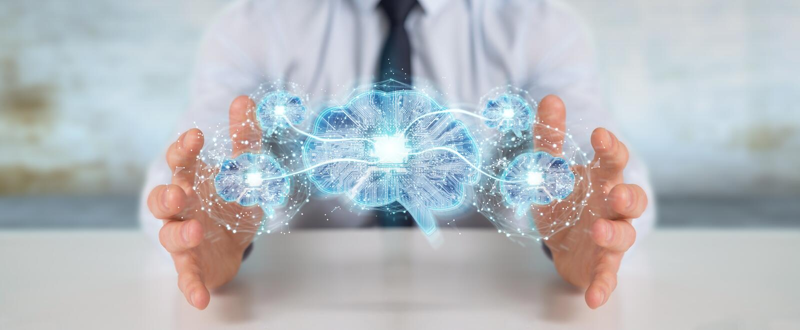 Homem de negócios que cria a inteligência artificial em um cérebro digital