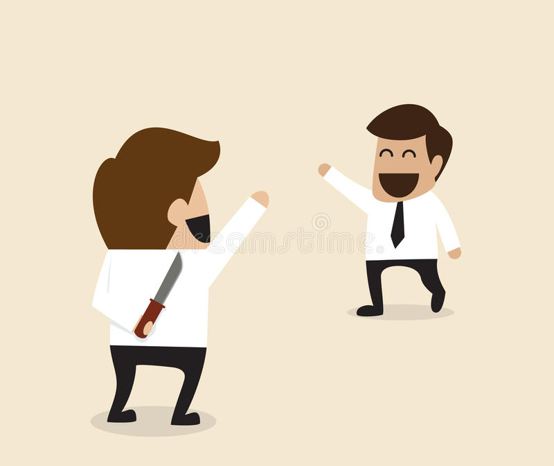Homem de negócios que cumprimenta seu amigo com a faca atrás da parte traseira ilustração royalty free