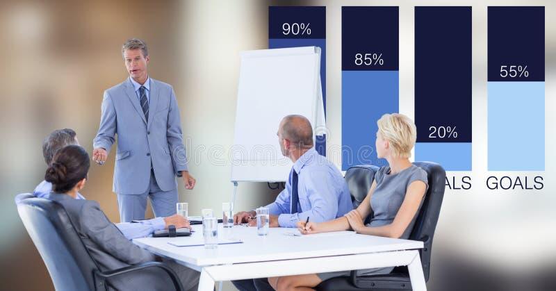 Homem de negócios que dá a apresentação aos colegas contra gráficos ilustração stock