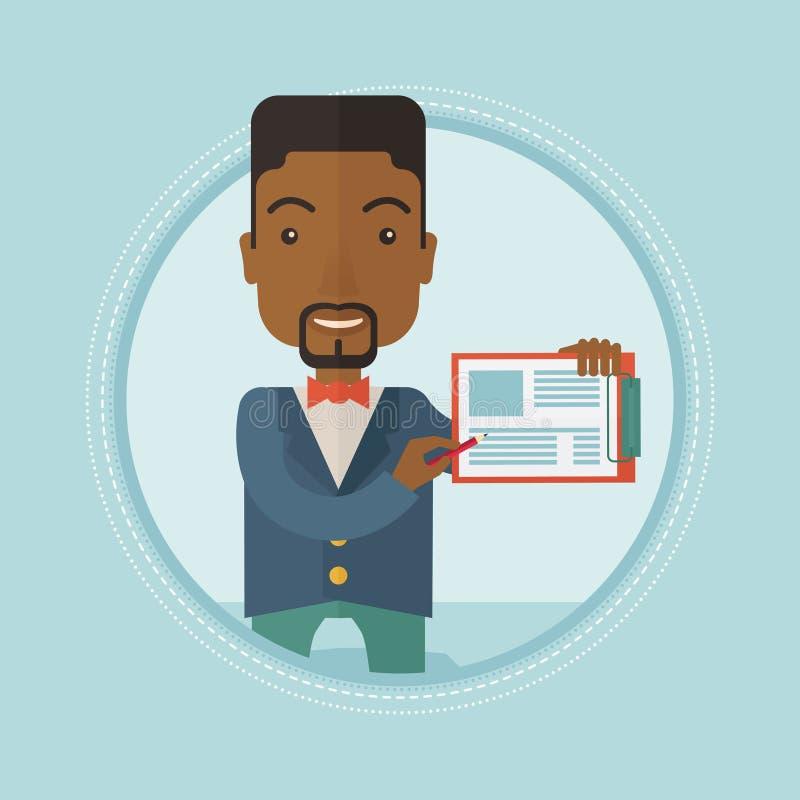 Homem de negócios que dá a apresentação do negócio ilustração royalty free