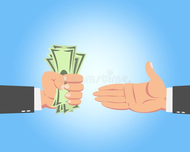 Homem de negócios que dá o dinheiro ilustração royalty free