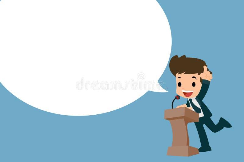 Homem de negócios que dá seu discurso no pódio ilustração royalty free