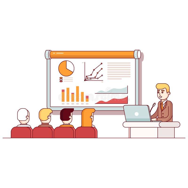 Homem de negócios que dá um discurso que mostra vendas ilustração stock