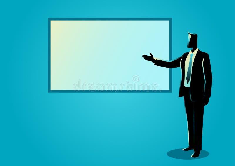 Homem de negócios que dá uma apresentação na placa branca ilustração royalty free