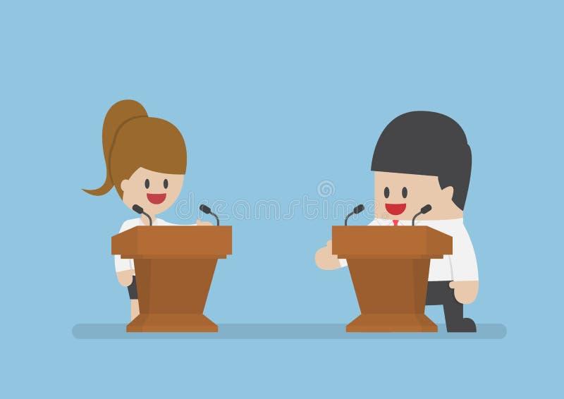 Homem de negócios que debate no pódio ilustração stock