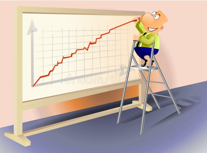 Homem de negócios que desenha um gráfico de aumentação. ilustração do vetor