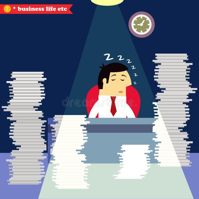 Homem de negócios que dorme na mesa ilustração do vetor