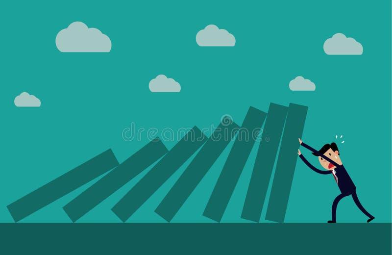 Homem de negócios que empurra duramente contra a plataforma de queda de telhas do dominó ilustração royalty free