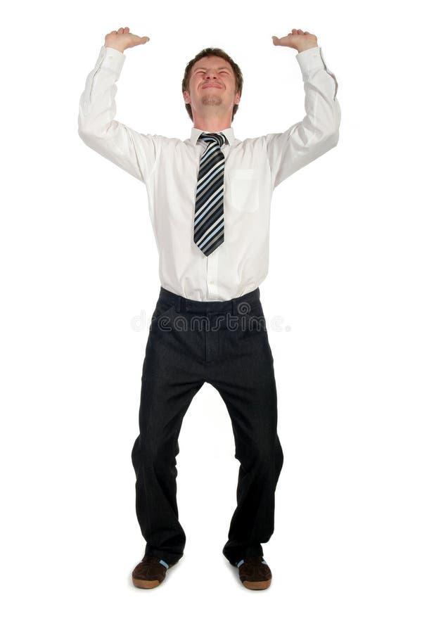 Homem de negócios que empurra para cima fotos de stock royalty free