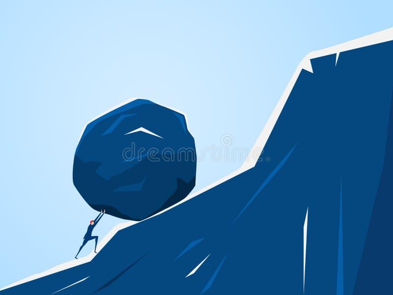 Homem de negócios que empurra a pedra enorme acima do monte Dificuldade da crise do problema de negócio e conceito da carga ilustração royalty free