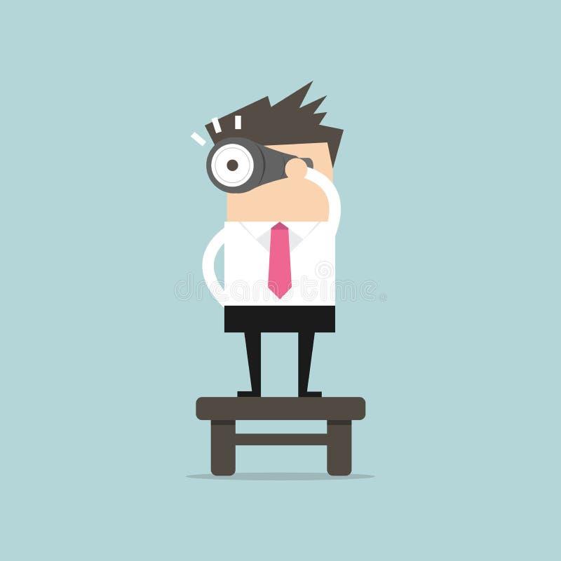 Homem de negócios que encontra o dinheiro vectorBusinessman com binóculos, conceito da visão Vetor ilustração stock