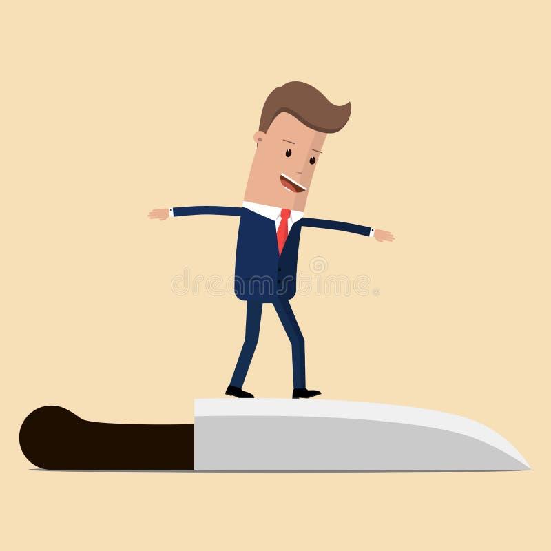 Homem de negócios que equilibra na faca Conceito do risco Ilustração do vetor ilustração royalty free