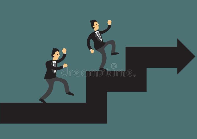 Homem de neg?cios que escala acima a seta gigante Conceito do crescimento ou da lideran?a do neg?cio ilustração do vetor
