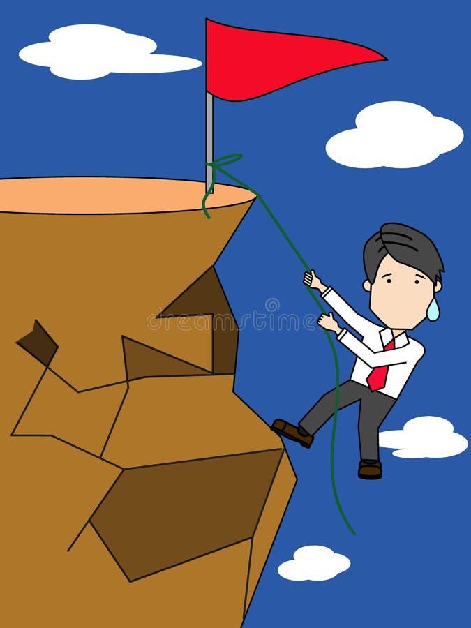 Homem de negócios que escala na parte superior de uma elevação ilustração do vetor