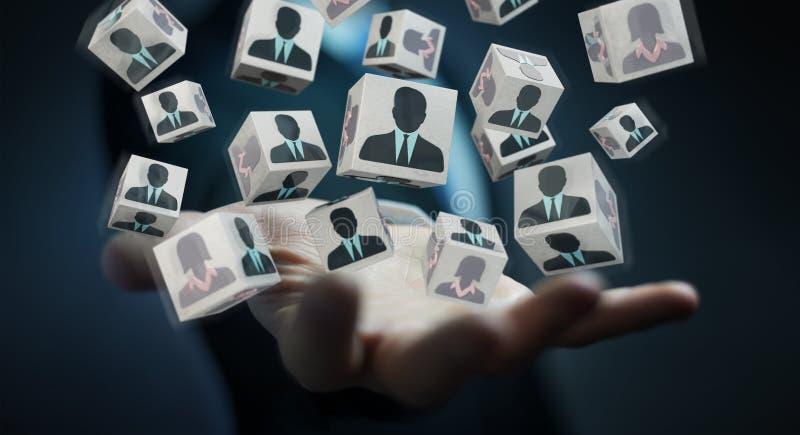 Homem de negócios que escolhe o candidato para uma rendição do trabalho 3D ilustração royalty free
