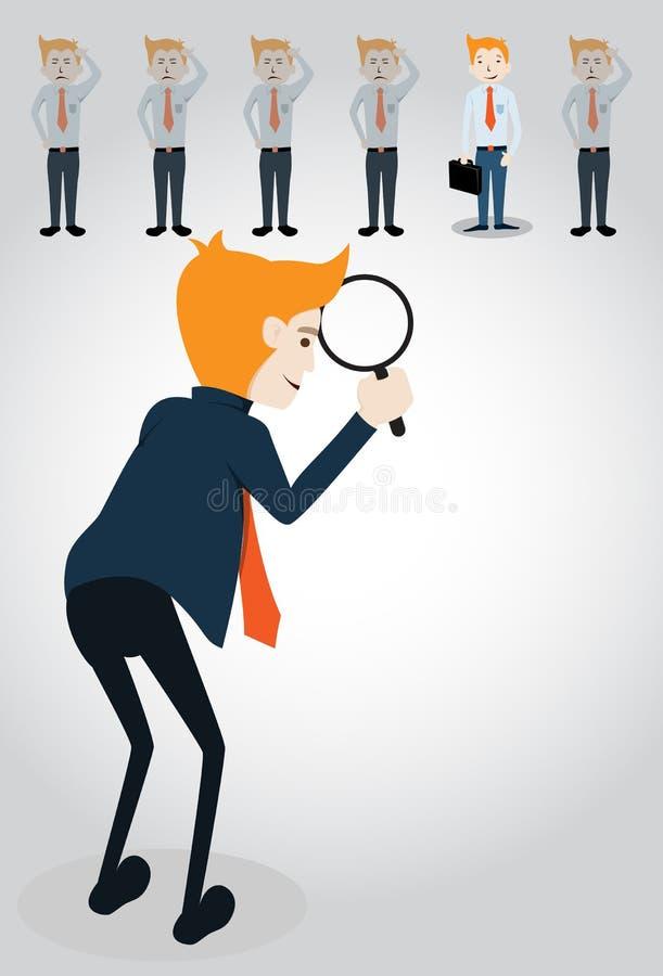 Homem de negócios que escolhe o trabalhador do grupo ilustração do vetor
