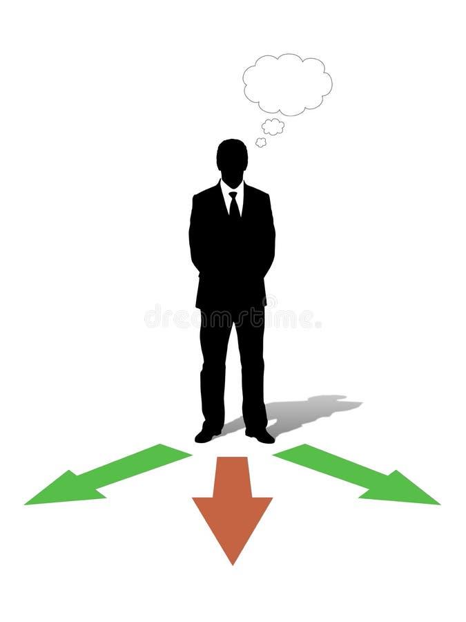 Homem de negócios que escolhe sua maneira ilustração royalty free