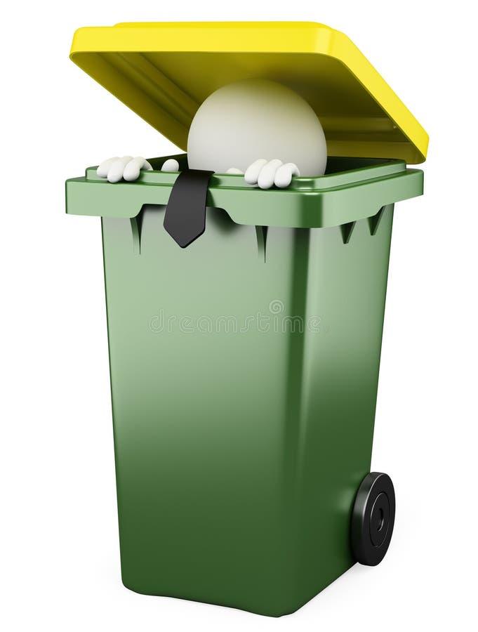 Homem de negócios que esconde em um escaninho de lixo ilustração do vetor