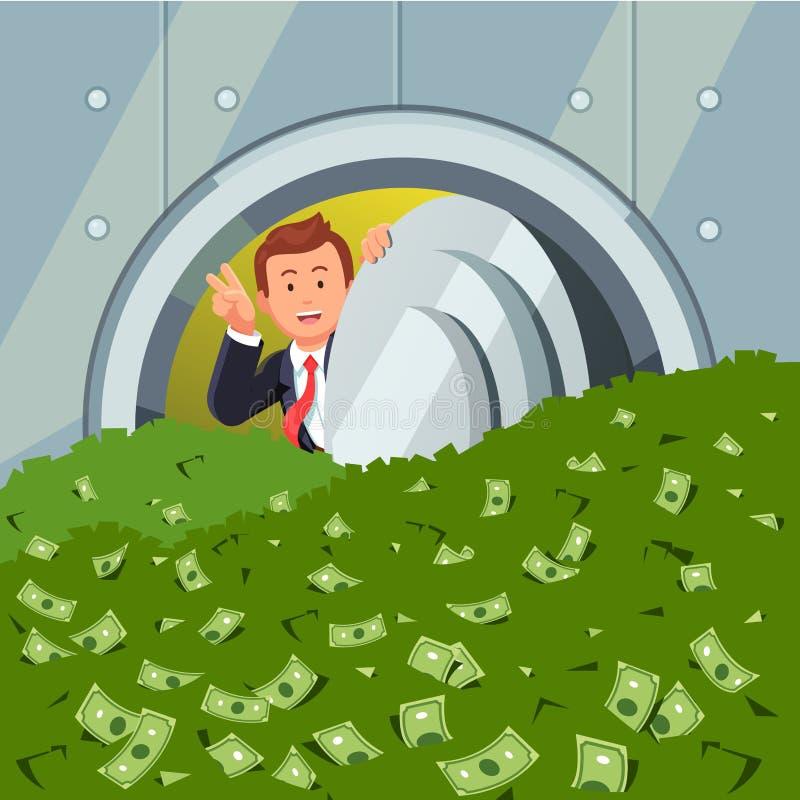 Homem de negócios que espreita através da porta do cofre-forte de banco ilustração royalty free