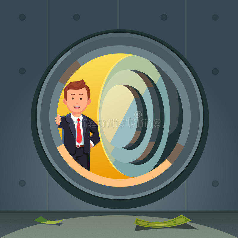 Homem de negócios que espreita através da porta do cofre-forte de banco ilustração do vetor