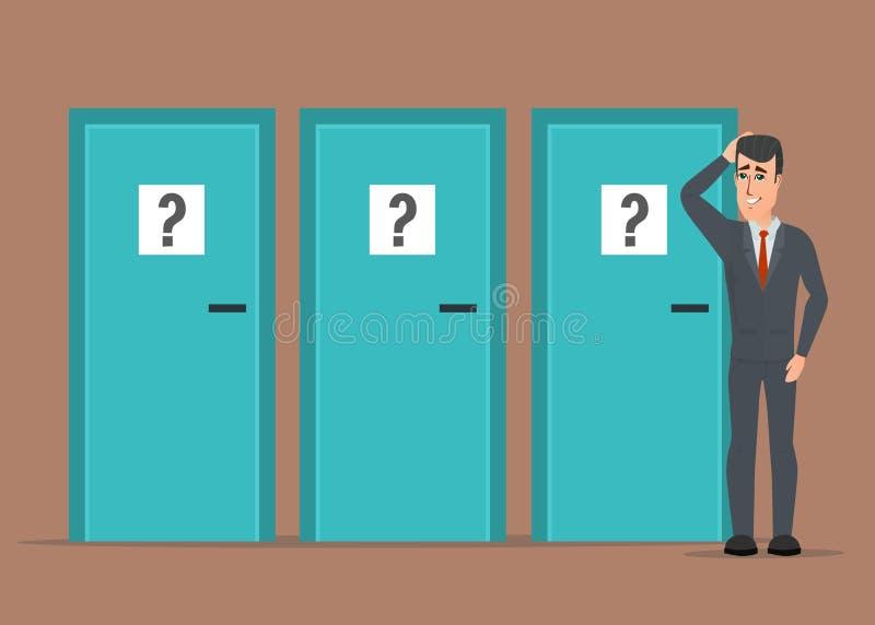 Homem de negócios que está ao lado de três portas, incapazes de fazer o righ ilustração do vetor