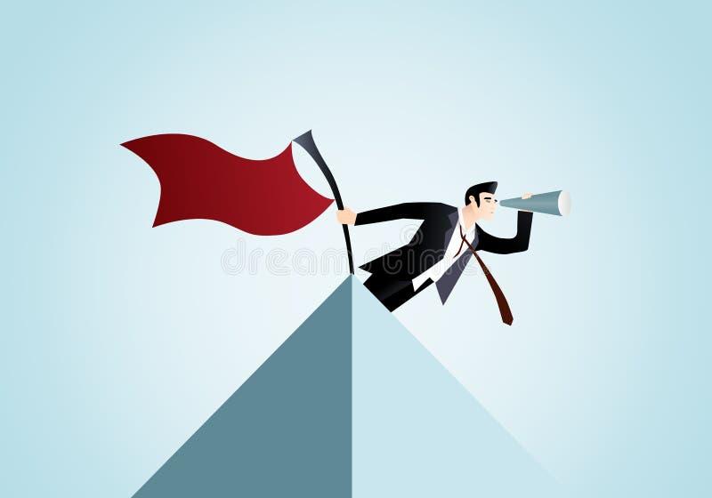 Homem de negócios que está apenas com a bandeira vermelha na parte superior da carta da pirâmide ilustração royalty free