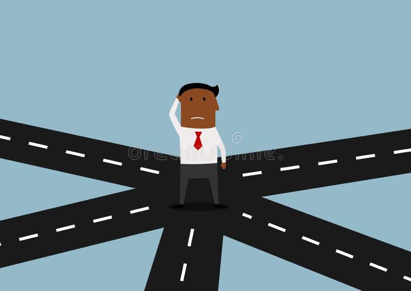 Homem de negócios que está e que pensa na estrada transversaa ilustração royalty free