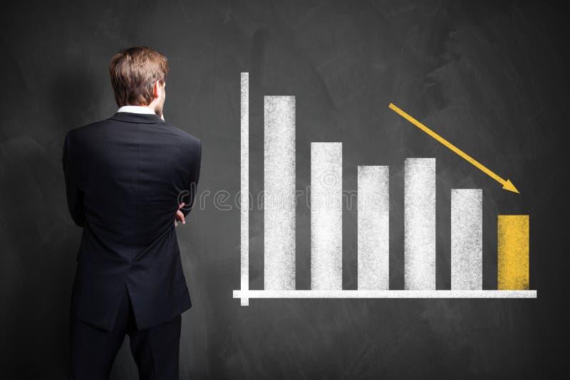 Homem de negócios que está na frente de um diagrama com barras de diminuição foto de stock