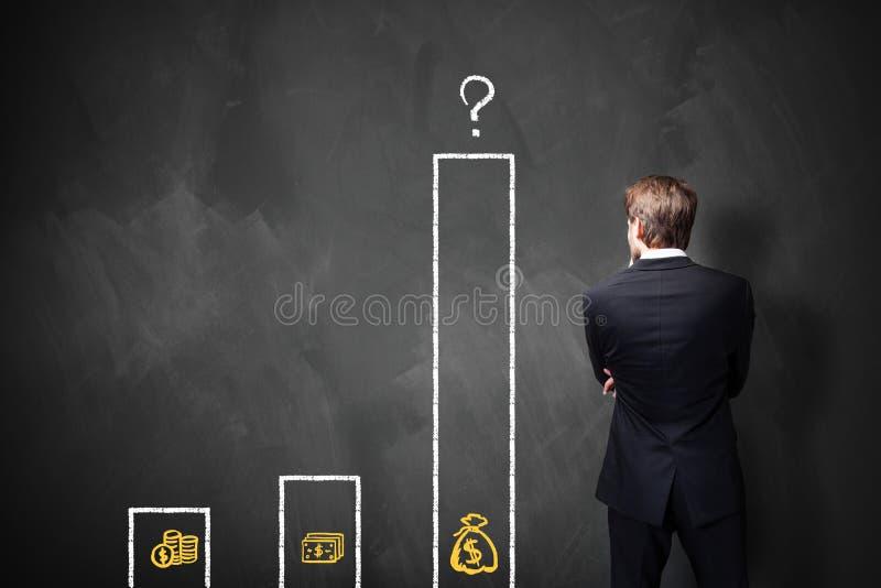 Homem de negócios que está na frente de um quadro-negro com uma carta sobre tipos diferentes de salários fotografia de stock royalty free