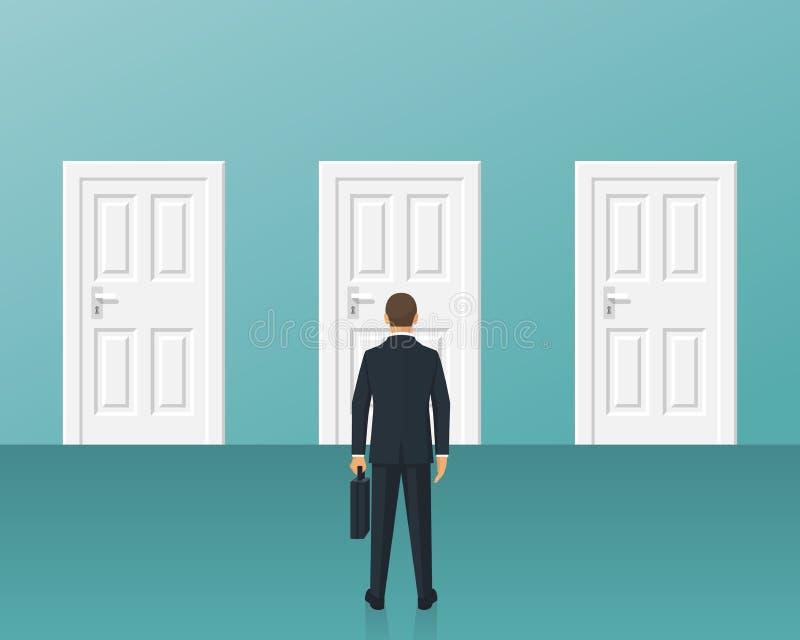 Homem de negócios que está na frente de três portas fechados ilustração royalty free