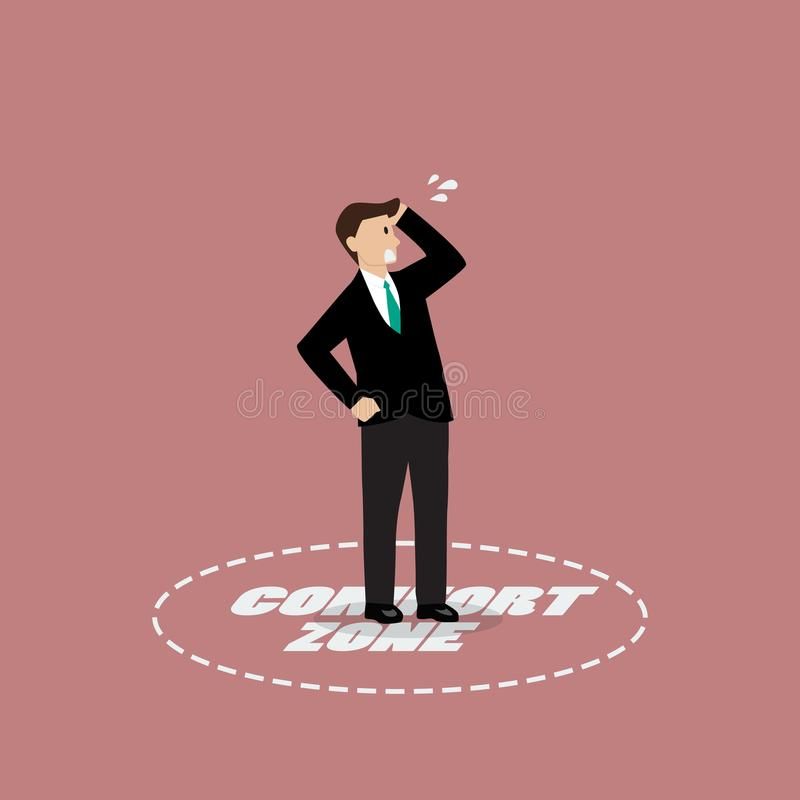 Homem de negócios que está na zona de conforto ilustração stock