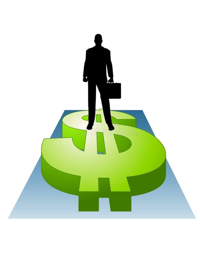 Homem de negócios que está no sinal de dólar ilustração stock