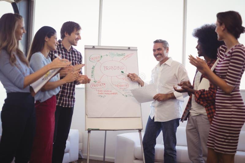 Homem de negócios que explica estratégias à equipe no escritório imagens de stock royalty free