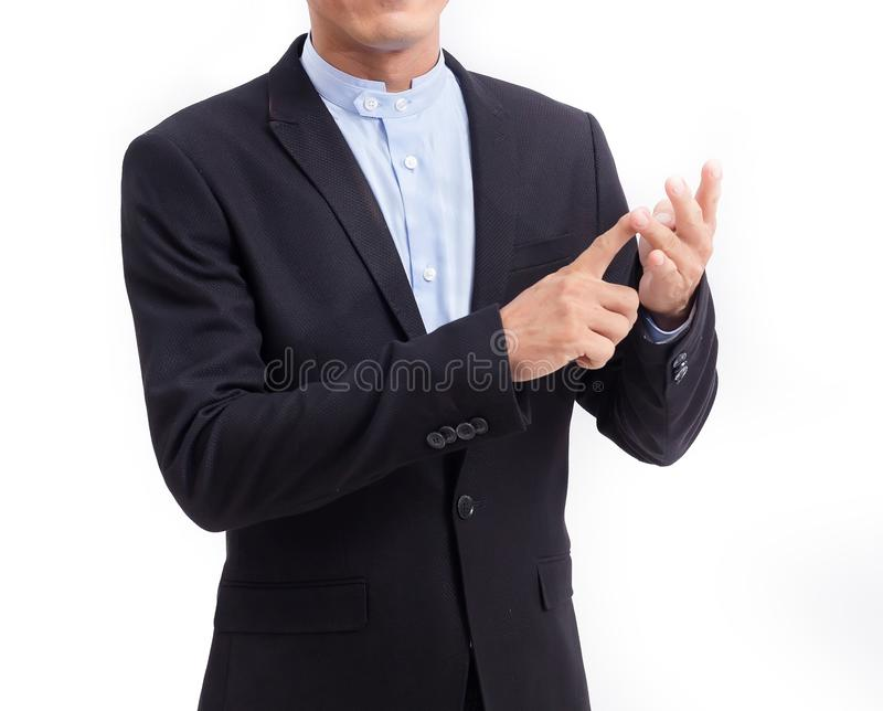 Homem de negócios que explica o fundo branco e à mão descrito imagens de stock