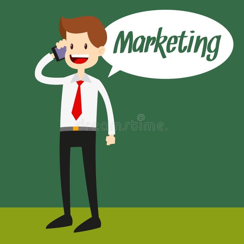 Homem de negócios que fala no telefone ilustração stock