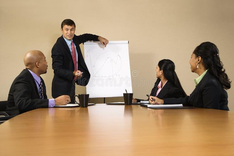 Homem de negócios que faz a apresentação. imagens de stock