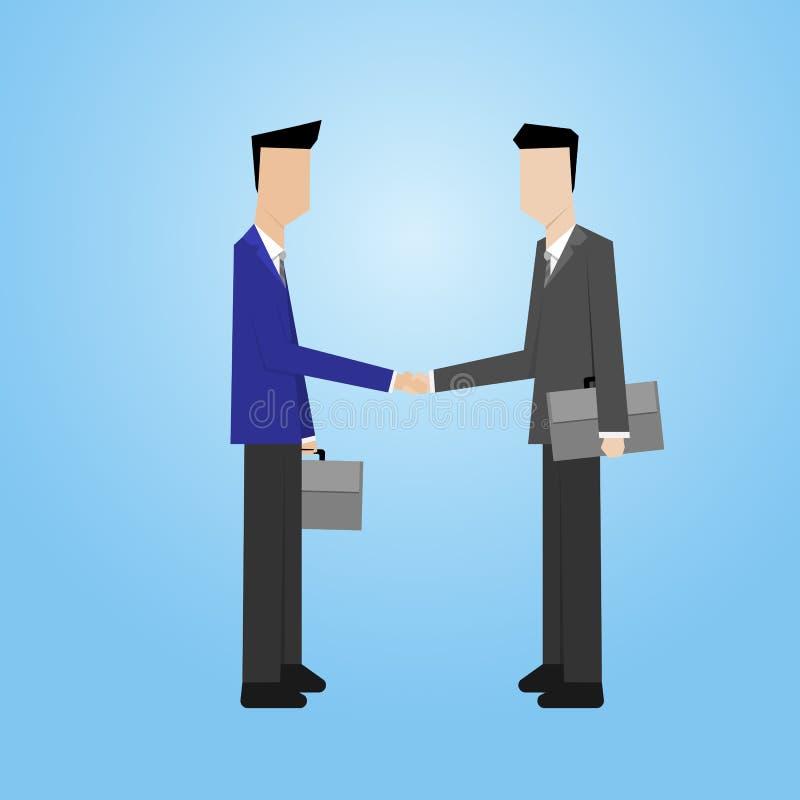 Homem de negócios que faz a cooperação do aperto de mão ilustração do vetor