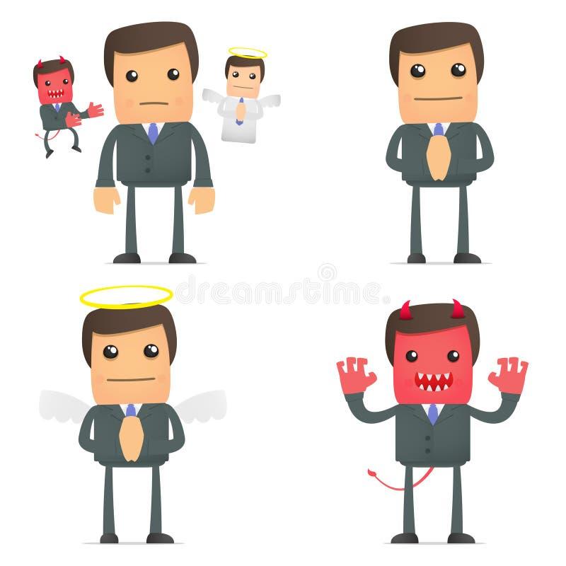 Homem de negócios que faz uma escolha entre bens e o mal ilustração stock