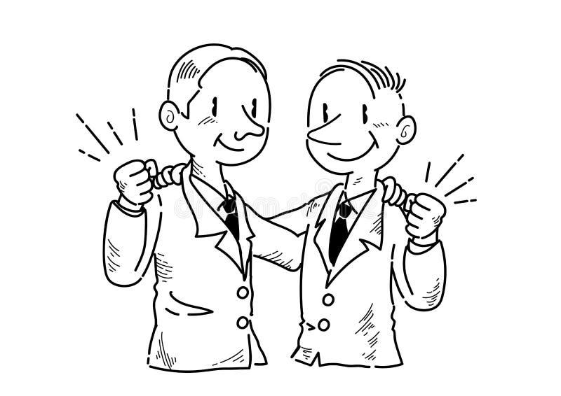 Homem de negócios que faz uma pose da vitória um com o otro - a lápis desenho ilustração royalty free