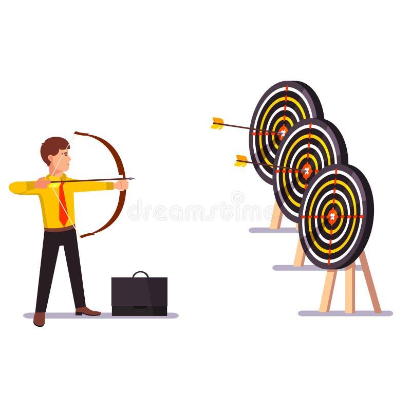 Homem de negócios que faz uma prática de alvo da seta da batida ilustração stock