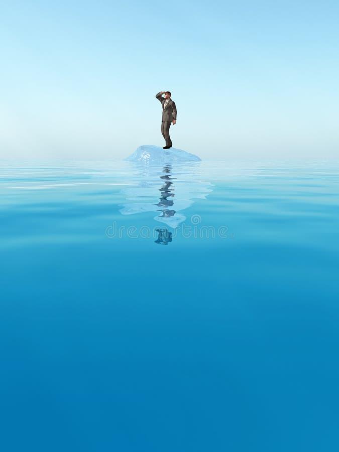 Homem de negócios que flutua no iceberg imagens de stock royalty free