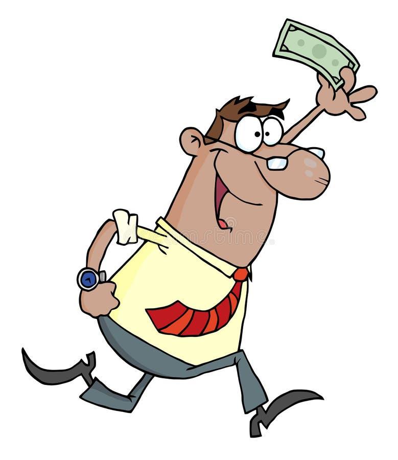 Homem de negócios que funciona e que sustenta o dinheiro ilustração royalty free