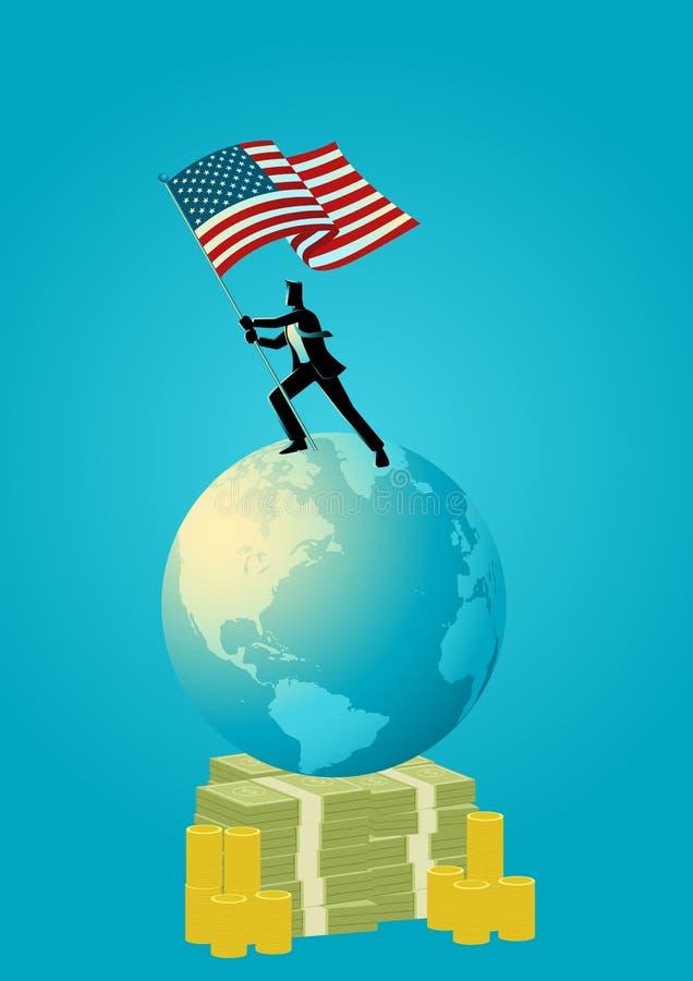 Homem de negócios que guarda a bandeira dos EUA no globo do mundo ilustração royalty free