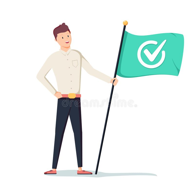 Homem de negócios que guarda a bandeira verde com marca de verificação Conceito do negócio do sucesso, do objetivo, da realização ilustração royalty free