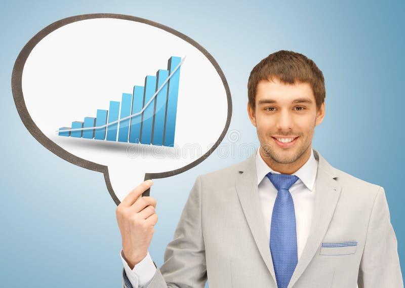 Homem de negócios que guarda a bolha do texto com gráfico fotografia de stock royalty free
