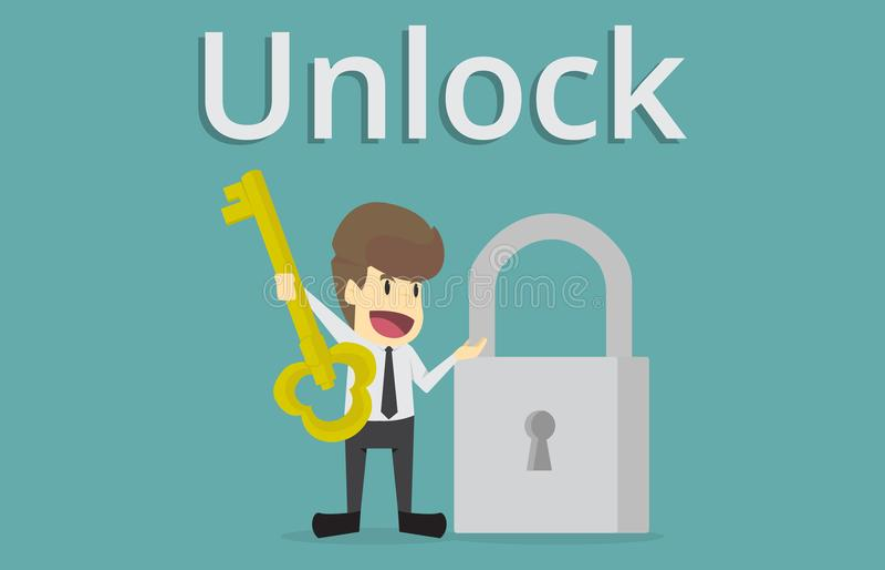 Homem de negócios que guarda a chave dourada para destravar o fechamento, chave ao sucesso ilustração royalty free