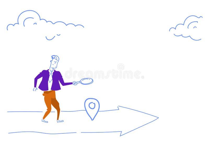 Homem de negócios que guarda do conceito de vidro do destino da seta do negócio do lugar da etiqueta do geo da busca do zumbido o ilustração royalty free