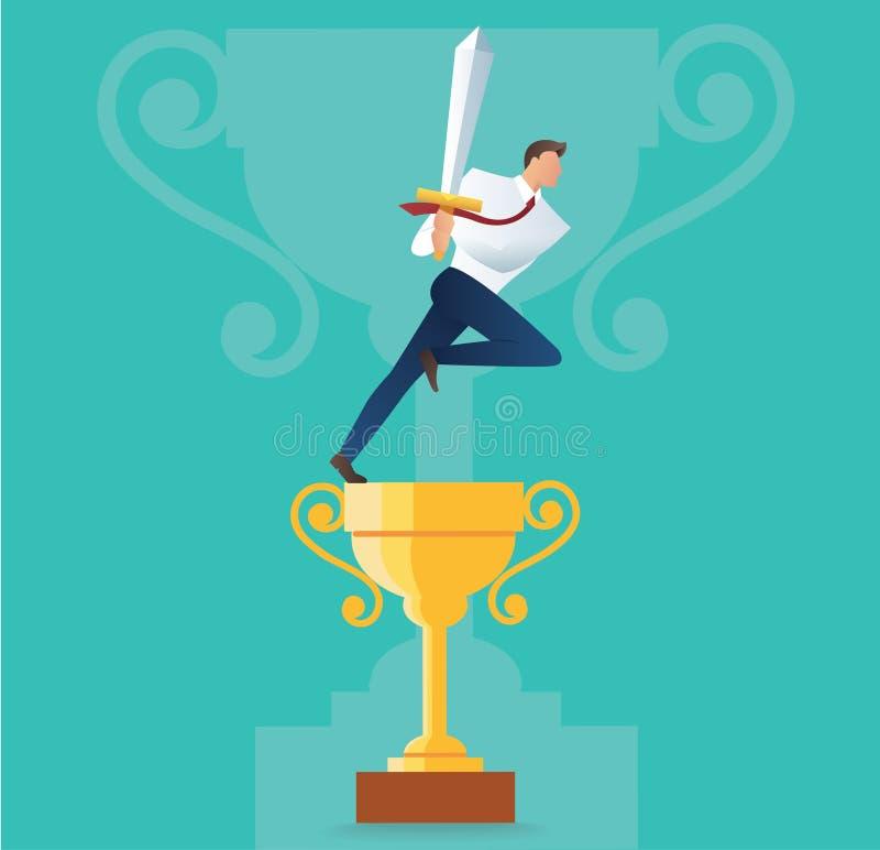 Homem de negócios que guarda a espada no troféu do ouro, conceito do negócio da ilustração bem sucedida do vetor ilustração stock
