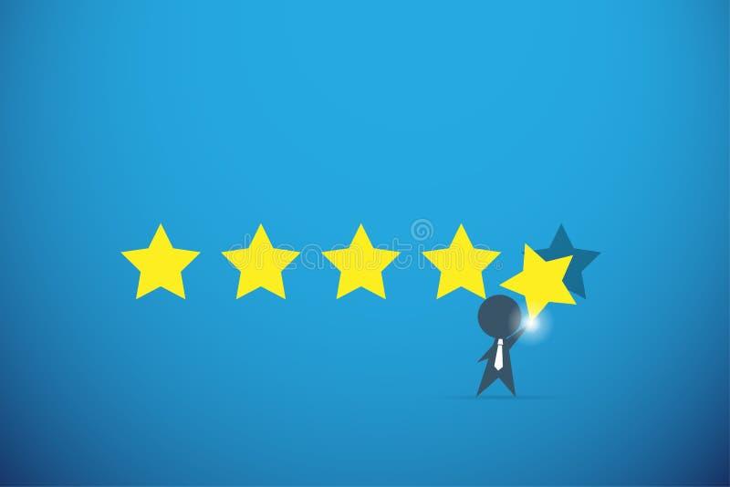 Homem de negócios que guarda a estrela do ouro para o conceito da avaliação, da qualidade e do negócio ilustração do vetor