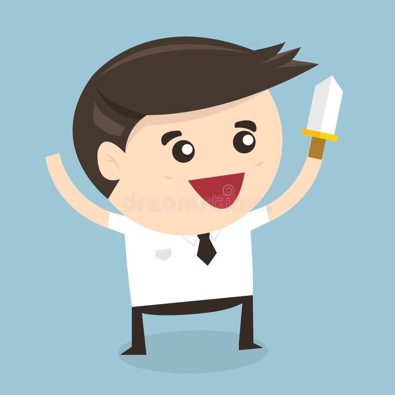 Homem de negócios que guarda a faca, projeto liso ilustração royalty free